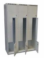 Spind, Stahlspind, Kleiderspind, Umkleideschrank, 3 Abteile, 3-türig, B900mm